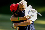 STILLWATER, OK - MAY 23: Arizona head coach Laura Ianello hugs Yu-Sang Hou after she won her match during the Division I Women's Golf Team Match Play Championship held at the Karsten Creek Golf Club on May 23, 2018 in Stillwater, Oklahoma. (Photo by Shane Bevel/NCAA Photos via Getty Images)