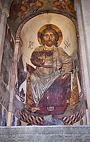 Pictures &amp; images of the interior apse fresco depicting Christ Pantocrator. The Eastern Orthodox Georgian Svetitskhoveli Cathedral (Cathedral of the Living Pillar) , Mtskheta, Georgia (country). A UNESCO World Heritage Site.<br /> <br /> Currently the second largest church building in Georgia, Svetitskhoveli Cathedral is a masterpiece of Early Medieval architecture completed in 1029 by Georgian architect Arsukisdze on an earlier site dating back toi the 4th century.