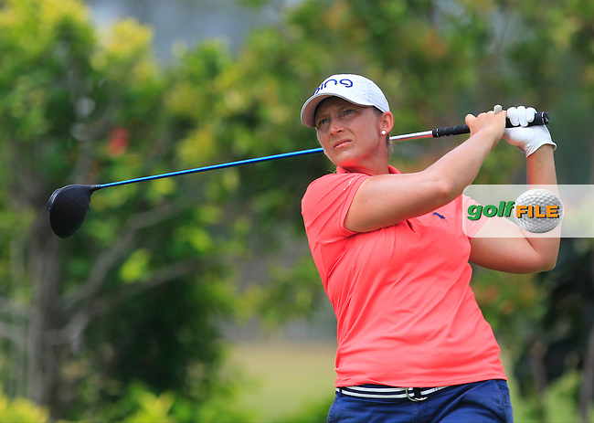 Angela Stanford (USA) on the 3rd tee during Round 2 of the HSBC Women's Champions on Friday 3rd March 2017.<br /> Picture:  Thos Caffrey / Golffile