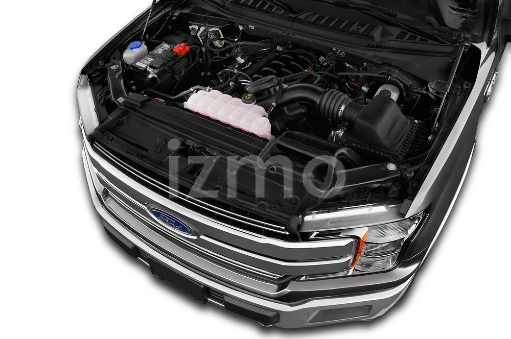 Car Stock 2018 Ford F-150 Lariat 4 Door Pick-up Engine  high angle detail view