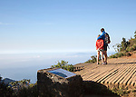 A couple stand at the edge of World's End cliff at Horton Plains national park, Sri Lanka, Asia
