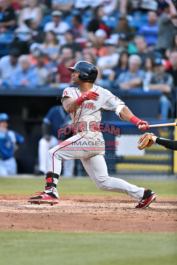 Greenville Drive designated hitter Tyler Hill (7) swings at a pitch during a game against the Asheville Tourists at McCormick Field on April 13, 2017 in Asheville, North Carolina. The Tourists defeated the Drive 3-1. (Tony Farlow/Four Seam Images)