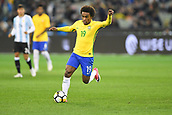 June 9th 2017, Melbourne Cricket Ground, Melbourne, Australia; International Football Friendly; Brazil versus Argentina; Willian Silva of Brazil controls the ball