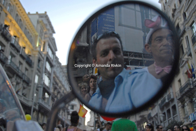 A motorcyclist rides with an old man dressed as a bunny in the Europride parade in Madrid, Spain on June 30, 2007.  Europride is Europe's largest annual celebration of the lesbian, gay, bisexual, and transgender, or LGBT, community.