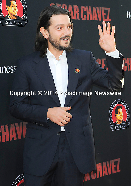 Pictured: Diego Luna<br /> Mandatory Credit &copy; Adhemar Sburlati/Broadimage<br /> Film Premiere of Cesar Chavez<br /> <br /> 3/20/14, Hollywood, California, United States of America<br /> <br /> Broadimage Newswire<br /> Los Angeles 1+  (310) 301-1027<br /> New York      1+  (646) 827-9134<br /> sales@broadimage.com<br /> http://www.broadimage.com