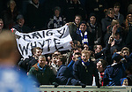 Queens fans with a Craig Whyte banner after their second goal against Rangers