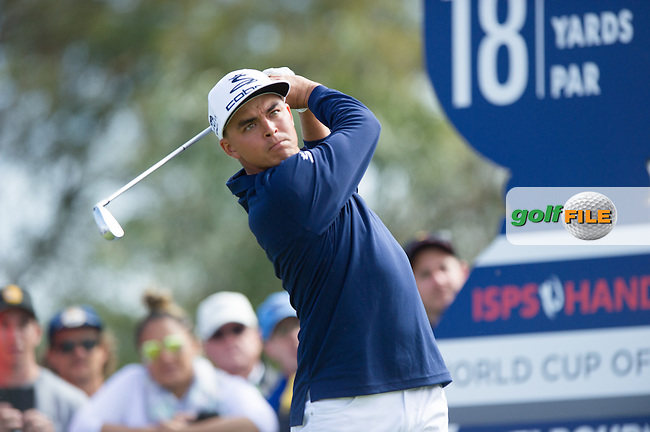Rickie Fowler (USA)during the ISPS Handa World Cup of Golf, from Kingston heath Golf Club, Melbourne Australia. 26/11/2016<br /> Picture: Golffile   Anthony Powter<br /> <br /> <br /> All photo usage must carry mandatory copyright credit (&copy; Golffile   Anthony Powter)