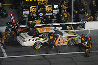 Feb 10, 2007; Daytona, FL, USA; Nascar Nextel Cup driver Dale Jarrett (44) pits during the Budweiser Shootout at Daytona International Speedway. Mandatory Credit: Mark J. Rebilas