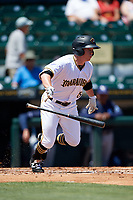 Bradenton Marauders second baseman Mitchell Tolman (5) runs to first base during a game against the Charlotte Stone Crabs on April 9, 2017 at LECOM Park in Bradenton, Florida.  Bradenton defeated Charlotte 5-0.  (Mike Janes/Four Seam Images)