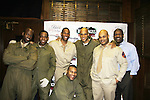 Guiding Light's Lawrence Saint-Victor stars with L to R David Roberts, Ananias Dixon, Thom Scott II, Melvin Huffnagle, Thadius Dainiels & Layon Gray (front) as they star in Black Angels Over Tuskegee on January 24, 2011 at the Actors Temple Theatre, New York City, New York. (Photo by Sue Coflin/Max Photos)