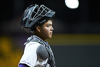 Winston-Salem Dash catcher Carlos Perez (14) on defense against the Wilmington Blue Rocks at BB&T Ballpark on April 15, 2019 in Winston-Salem, North Carolina. The Dash defeated the Blue Rocks 9-8. (Brian Westerholt/Four Seam Images)