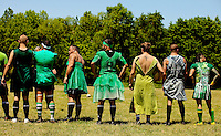 The Charlotte Royals Rugby Football Club vs. the Nashville Grizzlies in during the annaul prom dress match at Kirk Farm Fields, in Charlotte, North Carolina.