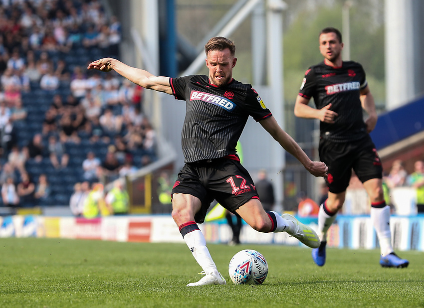 Bolton Wanderers' Craig Noone crosses<br /> <br /> Photographer Andrew Kearns/CameraSport<br /> <br /> The EFL Sky Bet Championship - Blackburn Rovers v Bolton Wanderers - Monday 22nd April 2019 - Ewood Park - Blackburn<br /> <br /> World Copyright © 2019 CameraSport. All rights reserved. 43 Linden Ave. Countesthorpe. Leicester. England. LE8 5PG - Tel: +44 (0) 116 277 4147 - admin@camerasport.com - www.camerasport.com