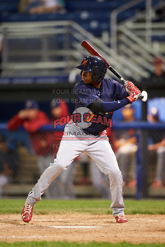 State College Spikes center fielder Anthony Ray (3) at bat during a game against the Batavia Muckdogs on June 22, 2016 at Dwyer Stadium in Batavia, New York.  State College defeated Batavia 11-1.  (Mike Janes/Four Seam Images)