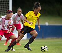 Natalie Murray of Watford Ladies under pressure from Amy Josland of Stevenage Ladies during the pre season friendly match between Stevenage Ladies FC and Watford Ladies at The County Ground, Letchworth Garden City, England on 16 July 2017. Photo by Andy Rowland / PRiME Media Images.