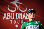 Alessandro Bazzana UnitedHealthcare takes over the Green Jersey at the end of Stage 3, The Al Ain Stage, of the 2015 Abu Dhabi Tour starting from the Al Qattara Souq in Al Ain and running 129 km to the mountain top finish at Jebel Hafeet at 1025 metres, Abu Dhabi. 10th October 2015.<br /> Picture: ANSA/Angelo Carconi | Newsfile