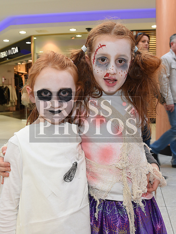 Caoimhe and saoirse Hynes pictured at the halloween celebrations at the Laurence Centre. Photo:Colin Bell/pressphotos.ie