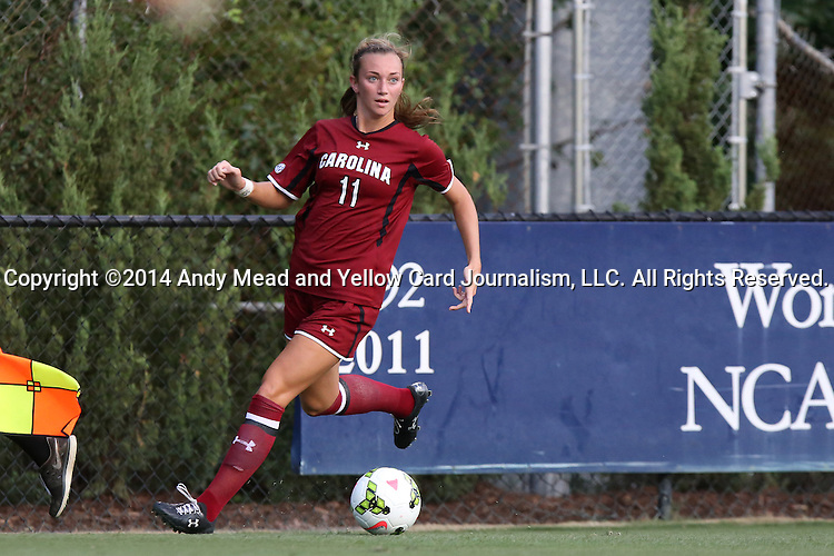 14 August 2014: South Carolina's Chelsea Drennan. The Duke University Blue Devils hosted the University of South Carolina Gamecocks at Koskinen Stadium in Durham, NC in a 2014 NCAA Division I Women's Soccer preseason match. Duke won the exhibition 2-0.