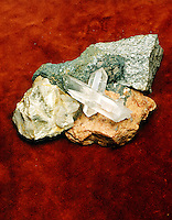 COMPONENT MINERALS OF GRANITE<br /> (Variations Available)<br /> Granite Is A Coarse Grained Igneous Rock<br /> Clockwise from top: granite, feldspar, horneblend, mica, quartz in the center.