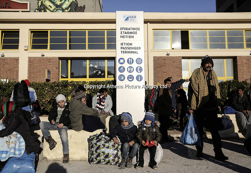 Pictured: Migrants at the passengers' terminal Monday 22 February 2016<br /> Re: Thousands of migrants, most from Syria, have landed to the port of Pireaus, after crossing the border from Turkey to various islands like Lesvos and Kos in Greece.