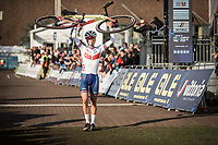Men U23 race winner and European Champion 2018 Thomas Pidcock (GBR) celebrating.<br /> <br /> <br /> UEC CYCLO-CROSS EUROPEAN CHAMPIONSHIPS 2018<br /> 's-Hertogenbosch – The Netherlands<br /> Men U23 Race