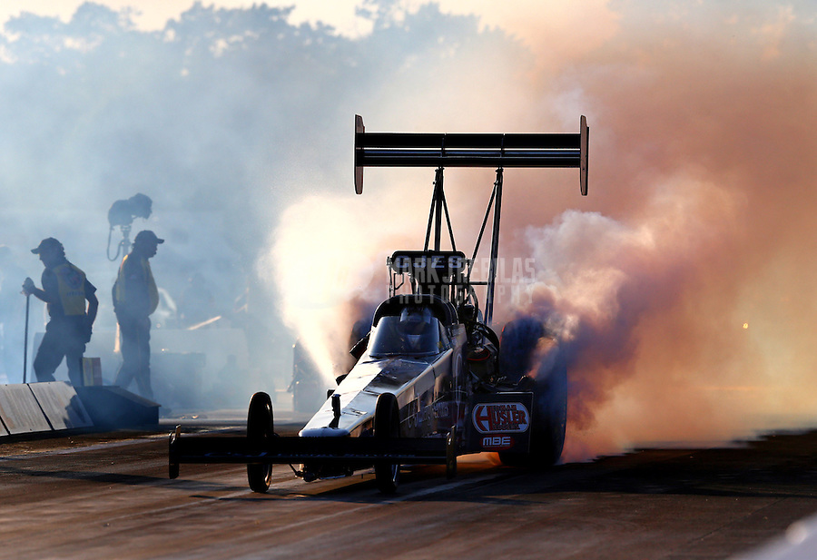 Aug. 16, 2013; Brainerd, MN, USA: NHRA top fuel dragster driver Bob Vandergriff Jr during qualifying for the Lucas Oil Nationals at Brainerd International Raceway. Mandatory Credit: Mark J. Rebilas-