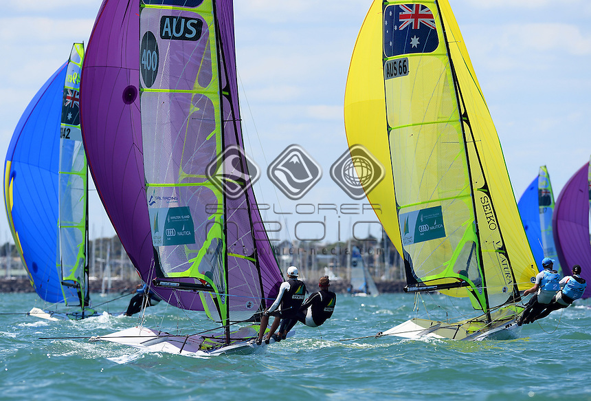49er / Fleeting racing action<br /> 2013 ISAF Sailing World Cup - Melbourne<br /> Sail Melbourne - The Asia Pacific Regatta<br /> Sandringham Yacht Club, Victoria<br /> December 1st - 8th 2013<br /> &copy; Sport the library / Jeff Crow
