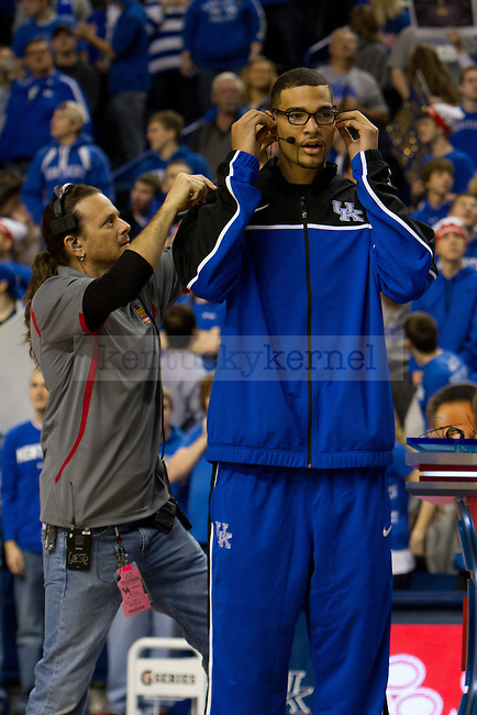 Willie Cauley-Stein got wired up for discussion during ESPN College Gameday in Lexington, Ky., on Saturday, February 23, 2013. Photo by Matt Burns | Staff