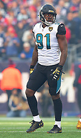 Jacksonville Jaguars defensive end Yannick Ngakoue (91) against the New England Patriots in the AFC Championship game Sunday, January 21, 2018 in Foxboro, MA.  (Rick Wilson/Jacksonville Jaguars)