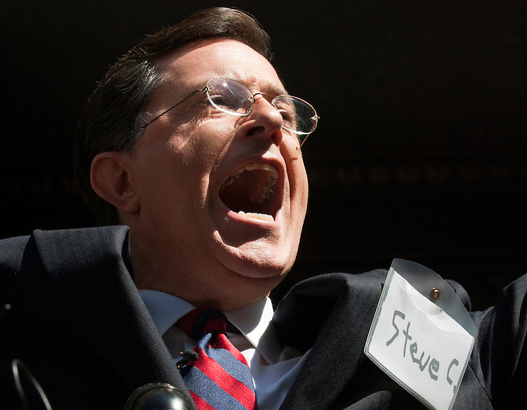 UNITED STATES - JUNE 30: Comedian Stephen Colbert speaks outside of the Federal Election Commission after his hearing to have his Colbert Super PAC approved in Washington on June 30, 2011.  (Photo By Bill Clark/Roll Call)