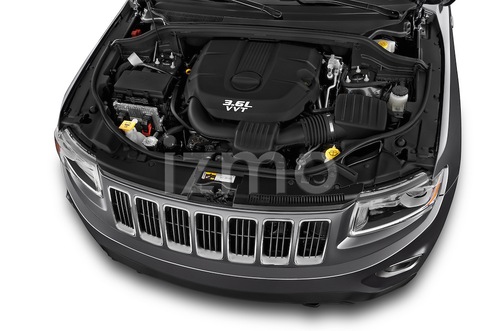 Car Stock 2014 JEEP Grand Cherokee Laredo 5 Door SUV Engine high angle detail view