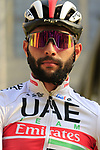 Fernando Gaviria (COL) UAE Team Emirates at the team presentation in Antwerp before the start of the 2019 Ronde Van Vlaanderen 270km from Antwerp to Oudenaarde, Belgium. 7th April 2019.<br /> Picture: Eoin Clarke | Cyclefile<br /> <br /> All photos usage must carry mandatory copyright credit (&copy; Cyclefile | Eoin Clarke)