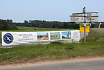 Advertising for affordable barn conversions at Chillesford Lodge estate, near Orford, Suffolk, England