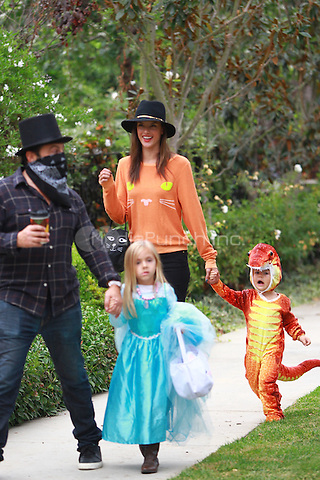 October 31 2014 Brentwood California Allessandra Ambrosio trick or treating with her children on halloween John Misa / MediaPunch
