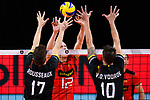 14.09.2019, Paleis 12, BrŸssel / Bruessel<br />Volleyball, Europameisterschaft, Deutschland (GER) vs. Belgien (BEL)<br /><br />Block / Doppelblock Tomas Rousseaux (#17 BEL), Simon van de Voorde (#10 BEL) - Block Anton Brehme (#12 GER)<br /><br />  Foto © nordphoto / Kurth