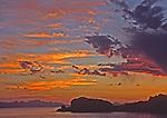 Sunset over Santa Catalina Isle, creates a painted sky, Sea of Cortez, Baja California, Mexico