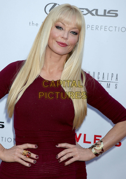 "Charlotte Ross.""Lawless"" premiere held at ArcLight Cinemas, Hollywood, California, USA..August 22nd, 2012.half length top hands on hips red maroon burgundy gold bracelet ring.CAP/ADM/RE.©Russ Elliot/AdMedia/Capital Pictures."