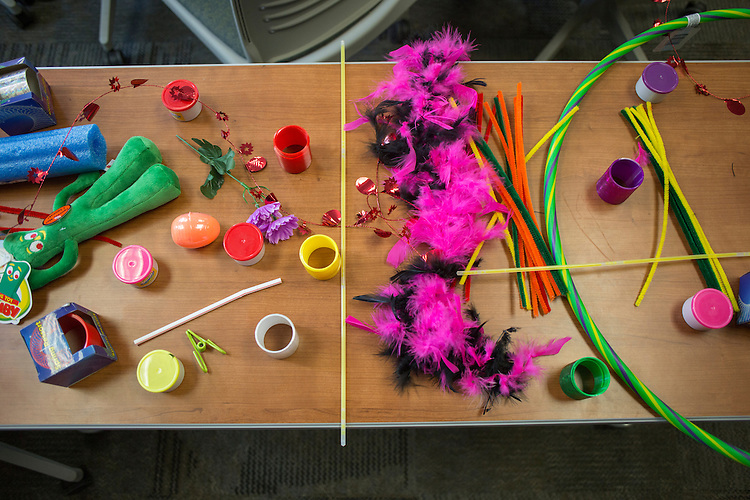 Toys are set up on a table as part of a breakout session led by Lisa George, the Vice President of International Talent for Walmart in Copeland Hall during the College of Business Center for Leadership Event on April 23, 2016.