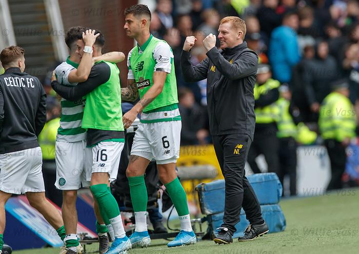 01.09.2019 Rangers v Celtic: Neil Lennon celebrates Celtic's second goal