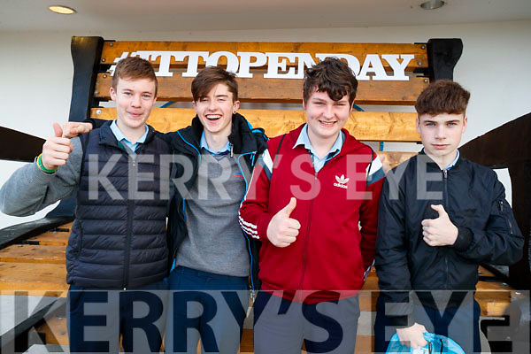 Tarbert Comprehensive Secondary School students pictured at the IT Tralee Open Day on Friday last were l-r: Micheál Collins, Andrew Fitzgerald, Darren McElligott and Cathal Brosnan.