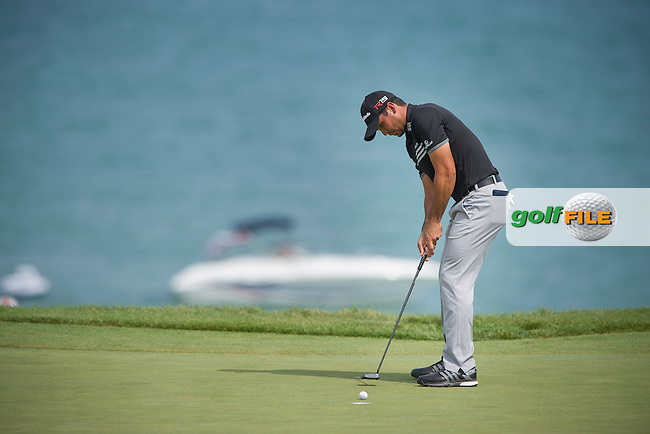 Jason Day (Aust saves his par on the 3rd during the final round of the 2015 USPGA Championship at Whistling Straits (Photo: Anthony Powter)