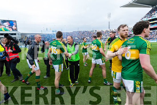 Kevin McCarthy Kerry players celebrate after defeating Dublin at the National League Final in Croke Park on Sunday.