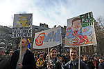 "Protestors with placards in Parliament Square during the ""Put it to the People"" rally which made it's way through central London today. Demonstrators from across the country gathered to call for a second referendum on Brexit and to march through the UK capital finishing with speeches in Parliament Square opposite the Houses of Parliament in Westminster."