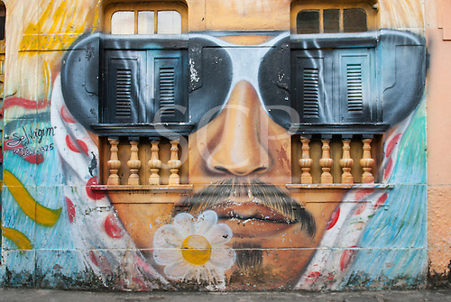 Olinda, Pernambuco State, Brazil. Graffiti; Maracatu bearded man with window sunglasses - street art, mural.