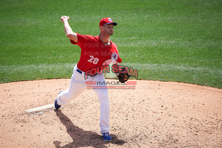 Buffalo Bisons starting pitcher Chris Leroux (28) delivers a pitch during a game against the Scranton/Wilkes-Barre RailRiders on July 2, 2016 at Coca-Cola Field in Buffalo, New York.  Scranton defeated Buffalo 5-1.  (Mike Janes/Four Seam Images)