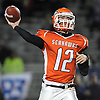 Carey quarterback No. 12 Mike Catanese throws a pass during a Nassau County varsity football Conference II semifinal against MacArthur at Hofstra University on Friday, Nov. 13, 2015. The teams went to halftime tied 15-15.<br /> <br /> James Escher