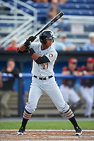 West Virginia Black Bears center fielder Sandy Santos (27) at bat during a game against the Batavia Muckdogs on August 21, 2016 at Dwyer Stadium in Batavia, New York.  West Virginia defeated Batavia 6-5.  (Mike Janes/Four Seam Images)