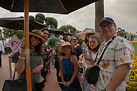 """ARCADIA, CA  JUNE 23: A large crowd gathers in line to receive free a Triple Crown poster signed by Mike Smith on  """"Justify Day"""" on June 23, 2018 at Santa Anita Park in Arcadia, CA.  (Photo by Casey Phillips/Eclipse Sportswire/Getty Images)"""