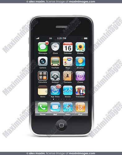 Apple iPhone 3Gs 3G smartphone with apps displayed on the screen isolated with clipping path on white background. High quality photo.