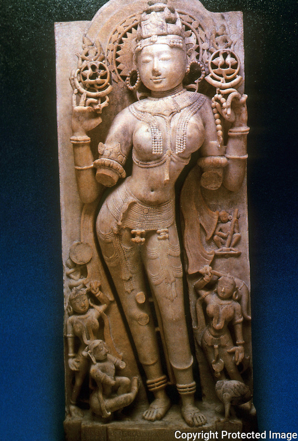 India: The Goddess Sarasvati by Sculptor Jagadeva, 1153 A.D.  A Jain Divinity.